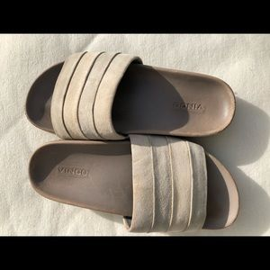 Vince Alisa White /Gray Suede Slide Sandal